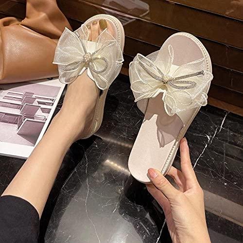 Chanclas Mujer Baratas,Femenino Verano Nuevo Fondo Grueso Esponja Esponja Salvaje Slim Water Taladro Aumento Bow Sea Beach Zapatos-UE 36 (230mm   9.05 )_Beige