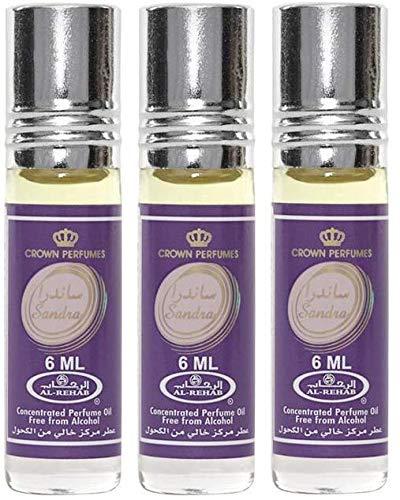 LOT DE 3 MUSCS PARFUMS SANDRA DE AL REHAB - 6ML NOTES: Fruité, Vanille, Floral, Epicés Chaud