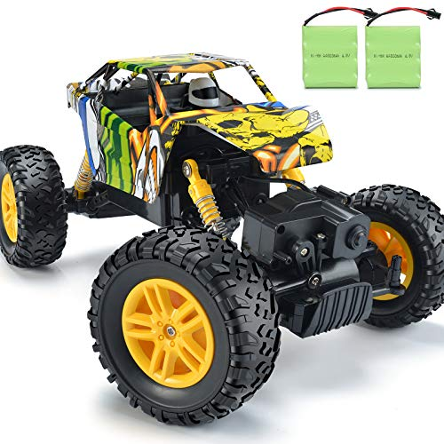 DOUBLE E RC Cars 1:18 Dual Motors Rechargeable Remote Control Truck 4WD Off Road RC Truck Rock Crawler