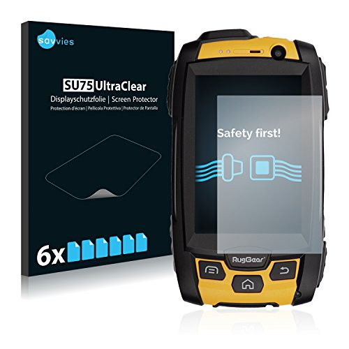 Savvies 6X Schutzfolie kompatibel mit RugGear RG500 Bildschirmschutz-Folie Ultra-transparent