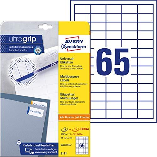 AVERY Zweckform 6121 Etiketten (A4, 1625 Plus 325 Universal-Etiketten extra, 38 x 21,2 mm, 30 Blatt) weiß