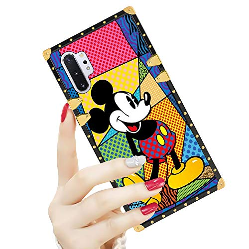 DISNEY COLLECTION Samsung Galaxy Note 10 Plus Case Square Cover Art Mickey Mouse Design Flexible Soft TPU Reinforced Luxury Metal Decoration Corners Shockproof Slim Samsung Note 10+ 5G Case Shell