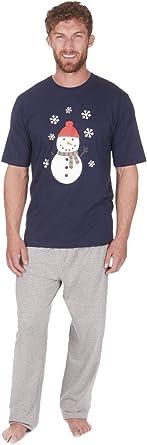 Mens Christmas Pyjama Set Top Tshirt Bottoms Cotton Nightwear Novelty CARGOBAY