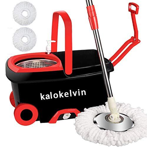kalokelvin 360 Spin Mop Bucket with 2 Extra Microfiber Head Refills 2x Wheels...