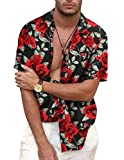 COOFANDY Men's Rose Floral Print Casual Cotton Short Sleeve Button Down Shirt
