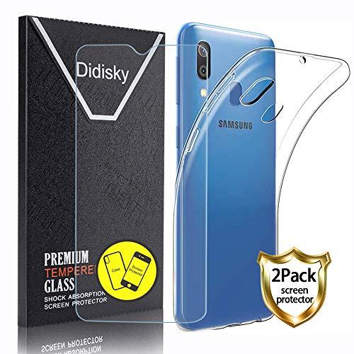 Didisky Custodia Cover per Samsung Galaxy A40 + 2 Pezzi Pellicola Protettiva in Vetro Temperato, Resistente ai GraffiSilicone AntiurtoTrasparente TPU Protezione Cover