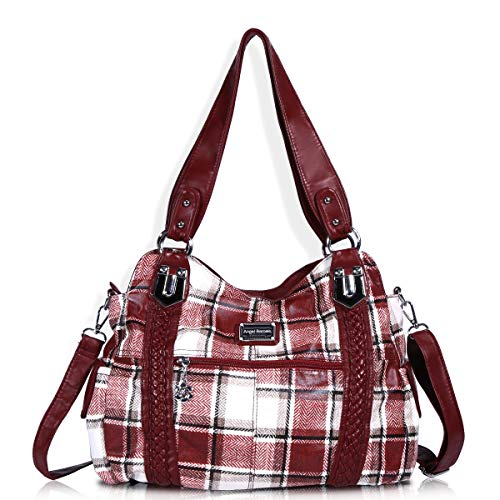 Angel Barcelo Roomy Fashion Hobo Womens Handbags Ladies Purse Satchel Shoulder Bags Tote Washed Leather Bag Red