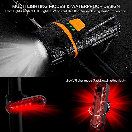 Wastou Bike Lights, Super Bright Bike Front Light 1200 Lumen, IPX6 Waterproof 6 Modes Cycling Light Flashlight Torch with USB Rechargeable Tail Light(USB Cable Included)