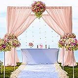Rideau de toile de fond en mousseline de soie - 1,5 x 3 m - 2 panneaux - 7,6 x 3 m - Drapes en tissu pour cérémonie de mariage, photographie, toile de fond - Drapes de scène (7,6 x 3 m, pêche)