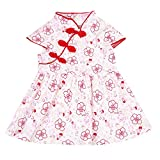 SUNMUY Kids Baby Girl Chinese Cheongsam Dress Qipao Classical Dress Outfit Set Cloths (Red, 1-2Years)