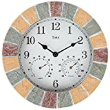 Best Outdoor Clocks - Lily's Home Hanging Wall Clock, Includes a Thermometer Review