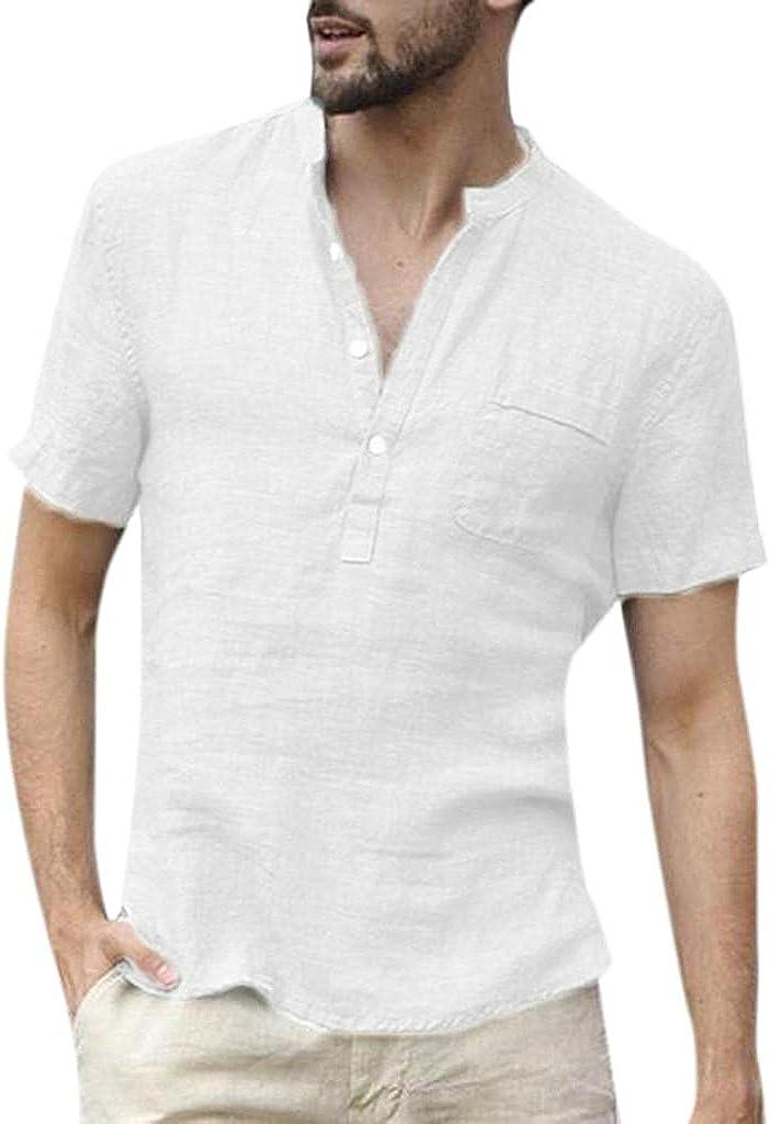 Burband Mens Hippie Linen Shirts Short Sleeve Retro V Neck Cotton Plain Shirts Summer Baggy Yoga Tops with Pockets