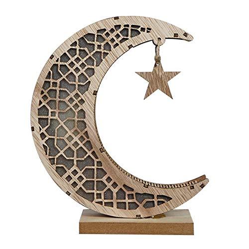 thorityau Lámpara de Ramadán, Eid Decoración Ramadán Media Luna Llevó la Luz, Ornamento iluminado de madera, Eid Mubarak Home Decoraciones