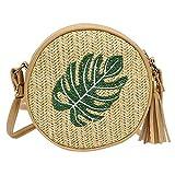 Afdgsjyu - Bolso bandolera de paja para mujer, diseño de hojas de piña bordada, vintage, vacaciones, verano, playa, Petit Sac Décontracté (color verde)