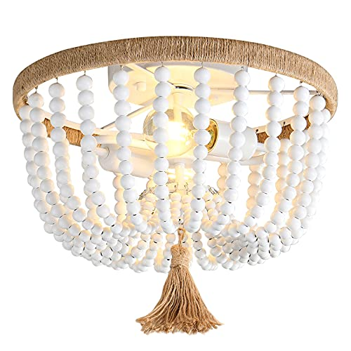 H.W.S Lampadario da soffitto in legno, stile fattoria, lampadario in legno, stile vintage, lampada a sospensione a sospensione fissa, per camera da letto, cucina, sala da pranzo, corridoio (B)