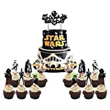 25 PCS Star Wars Cake Topper Cupcake Toppers Decorations Birthday Party Supplies for Outer Space Wars Theme Birthday Party Decoration Baby Shower Party Supplies