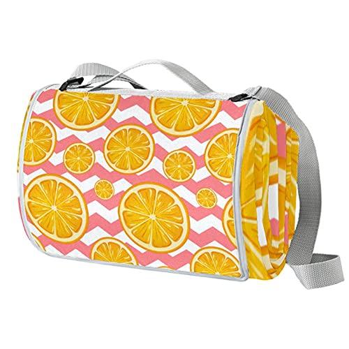 Manta de picnic portátil de 57 x 59 pulgadas, impermeable, para playa, viajes, camping, césped, música, festival, color naranja