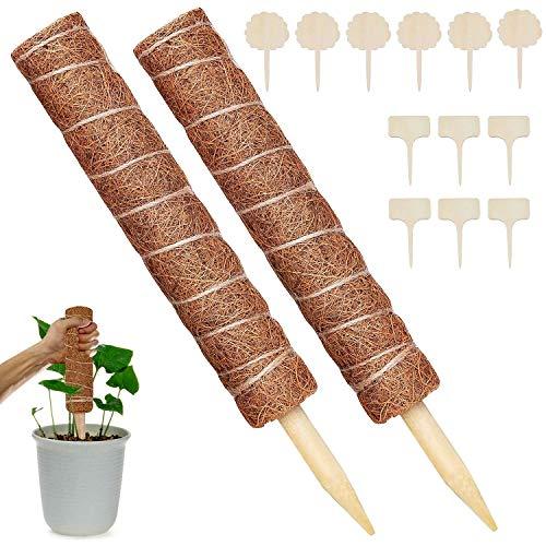 WELLXUNK Tótem de Fibra,2 Piezas Palo de Musgo Soporte para Extensiones de Plantas Musgo de Coco,para Enredaderas Soporte de Plantas Extensión Escalada Plantas de Interior,con 12 Etiqueta