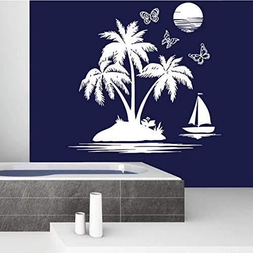 wopiaol Badezimmer Wandaufkleber Sailfish Sea Beach Wandaufkleber Abnehmbare Palmen Sonnenuntergang Tapeten Navigation Thema Wohnkultur A 58x57cm