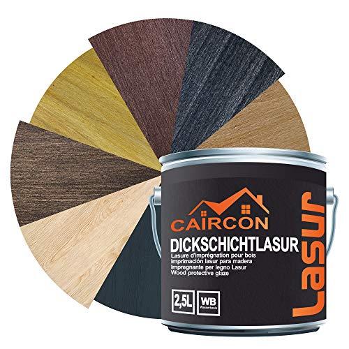 Dickschichtlasur 2in1 | Holzlasur für Innen und Außen | Dauerschutzlasur Holzschutzlasur Wetterschutz Holzpflege - Ebenholz 2,5L