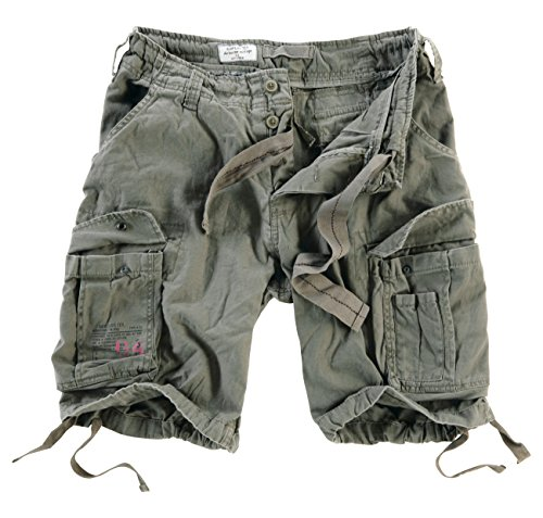 Surplus Hombres Airborne Vintage Pantalones Cortos Lavado Oliva tamaño M