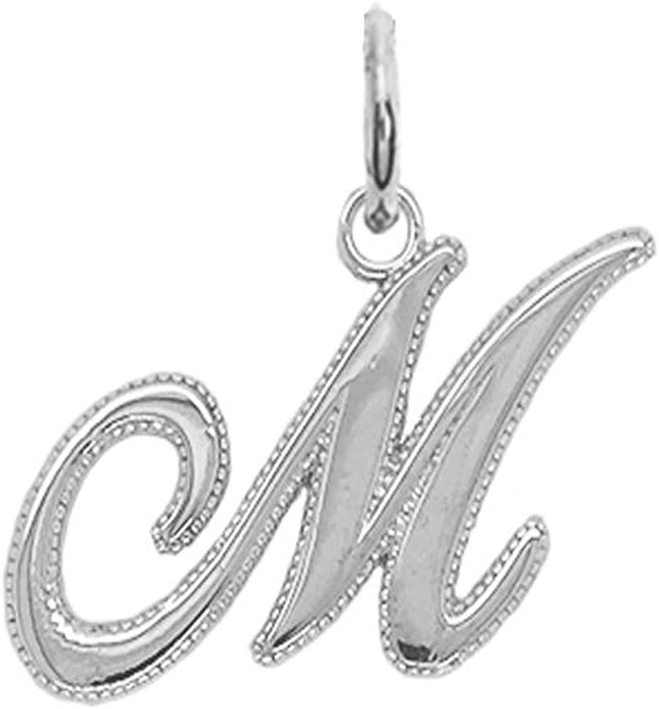Solid 14k Cheap sale Year-end gift White Gold Personalized A-Z Cursive-Style Pend Initial