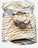 Adorable 2 Ply Baby Borrego Blanket, 3D Animal (Bear, Tiger, Zebra, Elephant) in a Pocket, 30'x 40' (Beige)