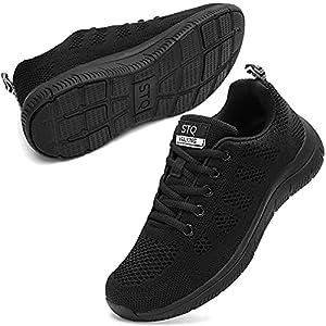 Women's Athletic Walking Shoes Casual Mesh-Comfortable Work Sneakers Black 6.5