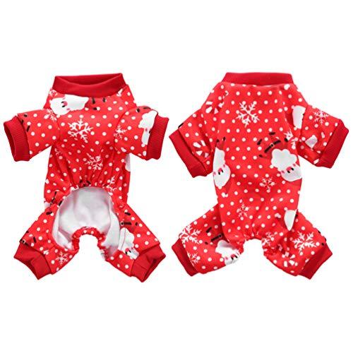 balacoo Natale Cane Vestiti Pigiama Babbo Natale Motivo a Fiocchi di Neve Cane Tuta per Natale Vacanze di Natale (Rosso Taglia m)