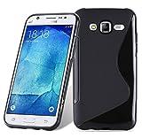 Cadorabo Funda para Samsung Galaxy J5 2015 en ÓXIDO Negro - Cubierta Proteccíon de Silicona TPU Delgada e Flexible con Antichoque - Gel Case Cover Carcasa Ligera