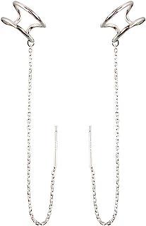 SLUYNZ 925 Sterling Silver Cuff Earrings Threader Chain for Women Teen Girls Crawler Earrings Wrap Earrings
