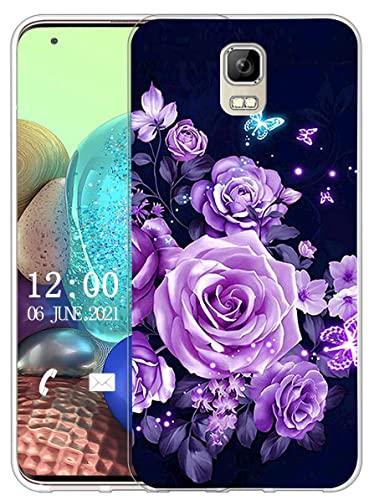 Sunrive Kompatibel mit UMI Rome/Rome X Hülle Silikon, Transparent Handyhülle Schutzhülle Etui Hülle (X Schmetterlinge und Rosen)+Gratis Universal Eingabestift MEHRWEG