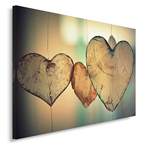 Feeby. Wandbild - 1 Teilig - 80x120 cm, Leinwand Bild Leinwandbilder Bilder Wandbilder Kunstdruck, Herz, Vintage, BRAUN