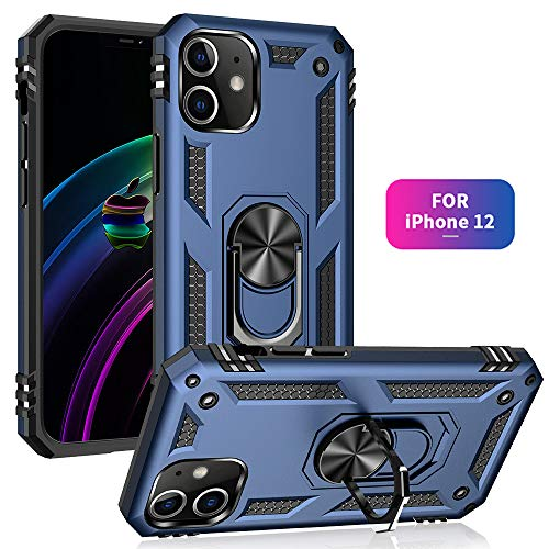 61Aanib Case for iPhone 12 case Silicone hardcase Material Suitable for Automotive Magnet Brackets 360 Degrees Ring Bracket Phone Cover Multi-Function Protective Shell for iPhone 12 (Blue)