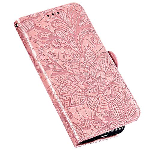 QPOLLY Kompatibel für Nokia 2.2 Hülle Leder Tasche Flip Case Spitzeblume Muster Handytasche Magnet Schutzhülle im Brieftasche-Stil mit Kartenfächer Standfunktion,Roségold