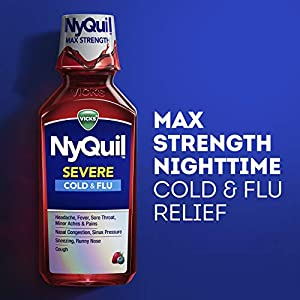 Vicks DayQuil and NyQuil SEVERE, Liquid Cough, Cold and Flu Relief, Sore Throat, Fever, and Congestion Relief, Day and Night Relief, Berry Flavor, 12 FL OZ Day and Night Pack