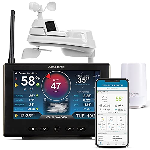 AcuRite Iris (5-in-1) Professional Weather Station with High-Definition Display with AcuRite Access for Remote Monitoring and Alerts, Compatible with Amazon Alexa (01151M), Black