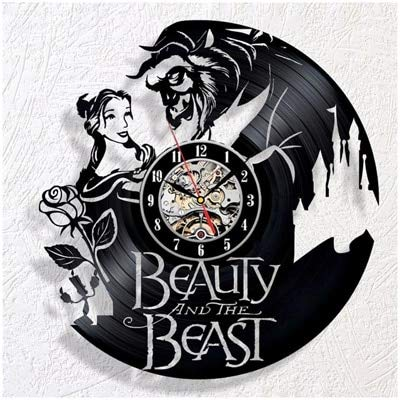 qweqweq Reloj de Pared con Disco de Vinilo Retro, diseño Moderno, Reloj de Pared de Belleza 3D de Dibujos Animados, decoración del hogar