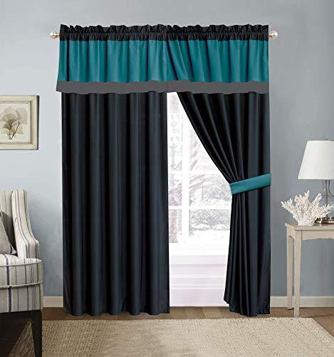 "Modern 4 - Piece Color Block Teal Blue, Grey, Black Curtain Set Drapes/Window Panels 120"" Wide X 84"" Tall"