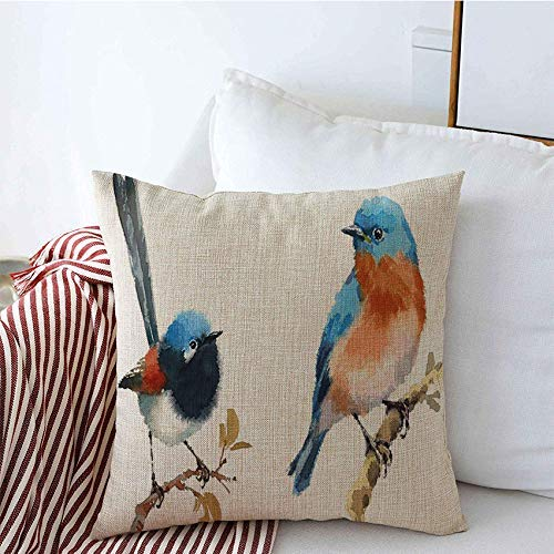 Fodere per cuscini decorativi Set Fairy Wren Blue Bluebird Due bellissimi uccelli Acquerello Animali Wildlife Textures Mano copricuscini 45 X 45CM