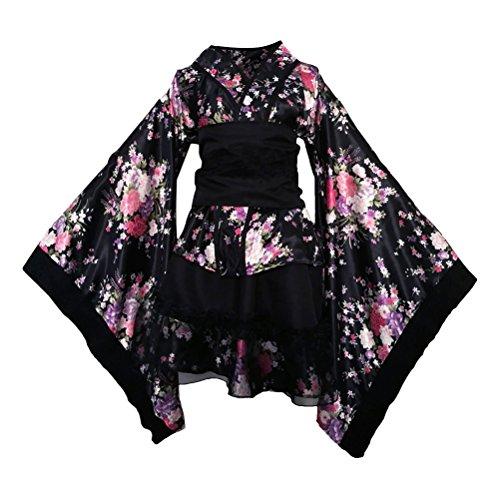 Fenical Frauen Kirschblüten Anime Cosplay Lolita Kleid Japanischen Kimono Kostüm Kleider Kleidung Größe M (Schwarz)