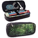 Natur tropischen Dschungel Wald Eco Leder Bleistift Fall Reißverschluss Schreibwaren Beutel Tasche...