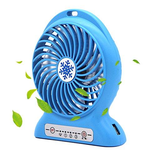 CoolFoxx Ventola USB regolabile,palmare 3 Potente velocità del vento Ricaricabile Funzionamento silenzioso Ventola di raffreddamento desktop esterna portatile con batteria da 2200mAh 4,7 pollici(blu)
