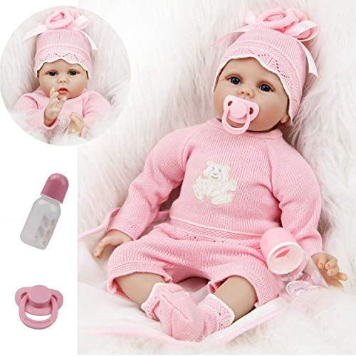 ZIYIUI Reborn Dolls 22 inch 55 cm Real Life Baby Doll Girls Soft Vinyl Silicone Baby with Magnetic Pacifier Newborn Toys Birthday gift and Children Xmas Gift