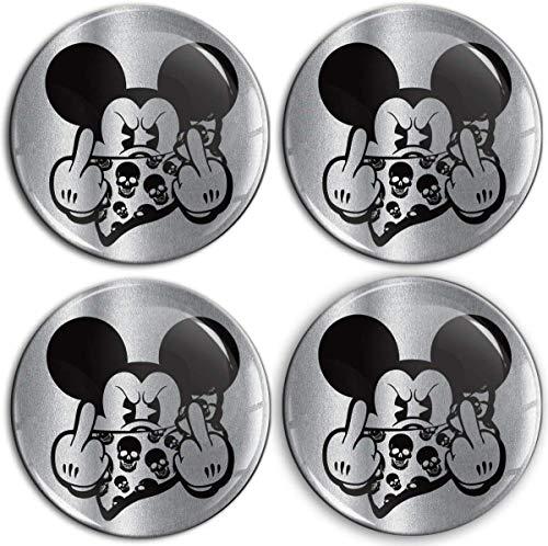 Biomar Labs® 4 x 65mm Aufkleber 3D Silikon Mickey Mouse Mittelfinger Micky Maus Für Radkappen Nabenkappen Radnabendeckel Rad-Aufkleber Nabendeckel A 9565
