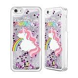 Head Case Designs Unicorno Vomito Arcobaleno Cover Glitterata Liquidi Argento Compatibile con Apple iPhone 5c