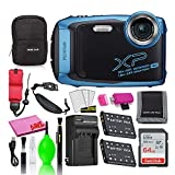 Fujifilm FinePix XP140 Waterproof Digital Camera (Sky Blue) Accessory Bundle with 64GB SD Card + Small Camera Case + Extra Battery + Battery Charger + Floating Strap + More
