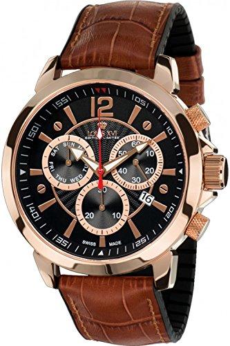 LOUIS XVI Herren-Armbanduhr Athos le Grand Rosegold Schwarz Chronograph Analog Quarz echtes Leder Braun 495