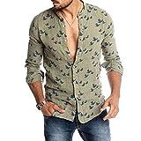 Hirate Men's Pigeon Printed Casual Button Down Shirts Long Sleeve Slim Fit Cotton Linen Beach Hawaiian Shirt