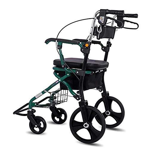 fhxr Vier Roller Rollator Walker Mit Tasche, Sitz Und Rückenlehne, Unterstand Korb, Leichter Faltbarer Aluminiumrahmen, Abschließbare Bremsen, Wandermobilitätshilfe